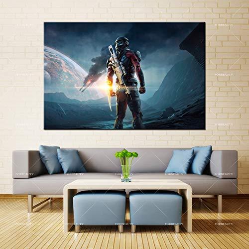 N / A Leinwand Malerei Wandkunst Space Warrior Save Earth Sitz Sprühdruck wasserdichte Tinte Home Decoration