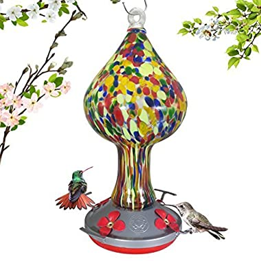 Grateful Gnome Hummingbird Feeder - Hand Blown Glass - Red Speckled Mushroom - 26 Fluid Ounces