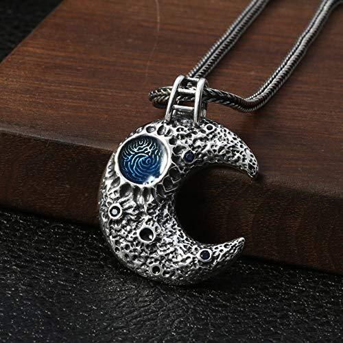 Colgantes De Plata 925 Para Mujer,Personalidad Chainless Moderno Blue Moon