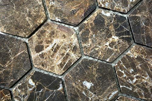 Mozaïek tegel marmer natuursteen Hexagon Impala bruin gevlamd MOS42-1313_m