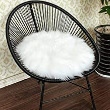 YOH Ultra Soft Seat Cushion Anti-Skid Fluffy Round Chair Mats, Imitation Sheepskin Baby Girls Seat Pads, Area Rugs for Living Room Armchair, Diameter 1.3-Feet, Noble White (White)