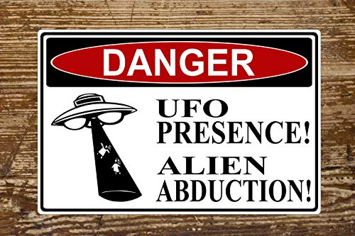 The454esa Danger UFO Area Funny Highway Aluminum Sign - Indoor or Outdoor Use/Man Cave Decor/Gift Novelty Sign Can be Personalized