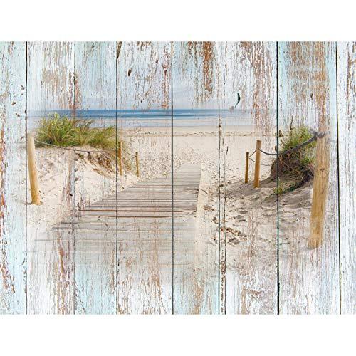 Fototapete Strand Holzoptik 352 x 250 cm Vlies Tapeten Wandtapete XXL Moderne Wanddeko Wohnzimmer Schlafzimmer Büro Flur Blau Braun 9111011a