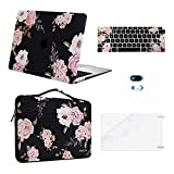 MOSISO Compatible with MacBook Air 13 inch Case 2020 2019 2018 Release A2337 M1 A2179 A1932 Retina Display Touch ID, Plastic Peony Hard Shell&Bag&Keyboard Cover&Webcam Cover&Screen Protector, Black