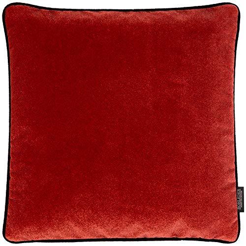 Rohleder Home Collection Kissen - Big Cloud - Strawberry - 50 x 50 cm - Dicht gewebtes Samtkissen mit farblich passender Paspel - Rot und Schwarz - Made in Germany