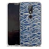 DeinDesign Coque en Silicone Compatible avec Nokia 6.1 Plus Etui Silicone Coque Souple Vague Japon...