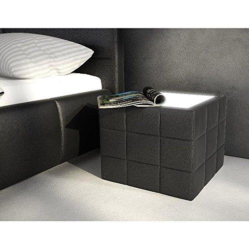 Nacht-Tisch gesteppt mit Plexiglas und LED schwarz 41x41cm quadratisch | Boco | Design Beistell-Tisch mit Kunstleder | Stylische Nachtkonsole für Ihr Schlafzimmer | Nachtkommode mit Licht für Ihr Bett