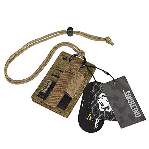 OneTigris Taktische Ausweishalter Abzeichenhalter Identifikation-Kartenhalter mit Umhängeband (Braun-500D Cordura Nylon)