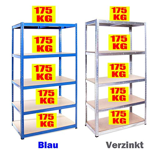 Lagerregal Schwerlastregal Verstellbare Steckregal Metallregal, Garagenregal Kellerregal Werkstattregal, bis 875 kg belastbar (175 kg pro Ablage), Einfache Installation, 180x90x40cm, Verzinkt