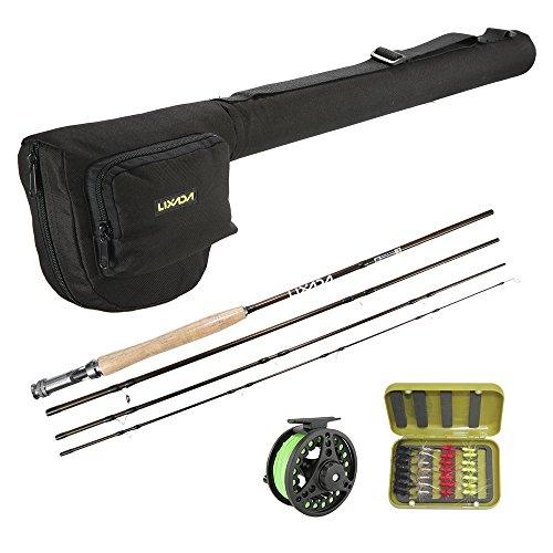 Walmeck- Kit Combinato Mulinello da Pesca Portatile Leggero Set di Base per Pesca da Pesca Canna da Pesca a Mosca da 4 Pezzi con Asta Bonus