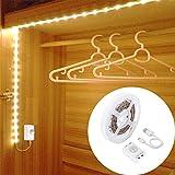 Iluminación LED para armario, OriFiil, 150 cm, 45 LED, batería recargable por USB, 3000 K, luz blanca cálida, sensor de movimiento para habitación infantil, dormitorio, cocina, armario