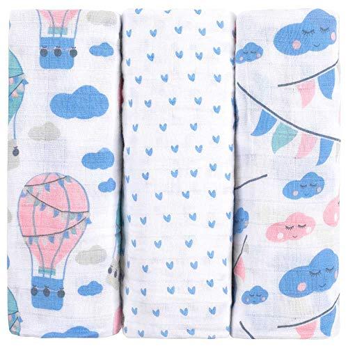 Premium Baby Mullwindeln Spucktücher 3er Pack, 70x70cm, Doppelt Gewebt, 100% Bio-Baumwolle, OEKO-TEX Zertifiziert, Flauschig Weich, Extra Saugfähig, Moltontücher von emma & noah (Wolke & Ballon)