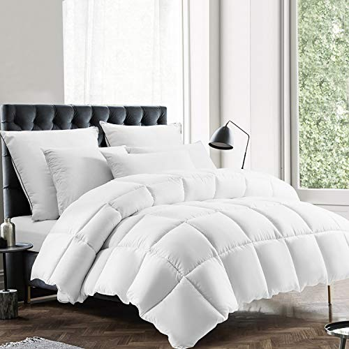 EDUJIN All Season Queen Size Comforter, Soft Quilted Down Alternative Comforter Hotel Luxury Collection Reversible Duvet Insert with Corner Tabs, Fluffy & Hypoallergenic, White, 88 x 92 inches
