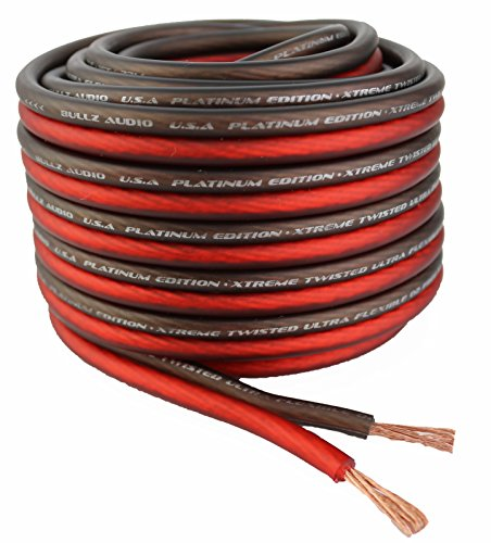 Bullz Audio BPES10.25 25' True 10 Gauge AWG Car Home Audio Speaker Wire Cable Spool (Clear Red/)