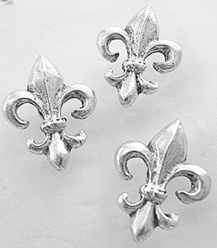 Fleur De Lis Decorative Push Pins, 15 Pieces, Silver T-875AS