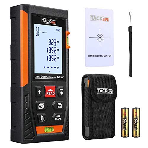 Tacklife HD-100m Telemetro Laser Classico Distanziometro a Infrarossi Tascabile Misuratore a Distanza Tester di Distanza / Superficie / Volume / Altezza con Display Retroilluminato