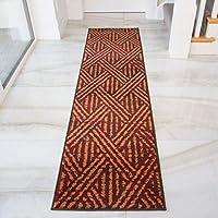 "Alfombra de pasillo, color gris, diseño geométrico, color naranja y marrón 60cm x 240cm (2' x 7'9"") terracota"