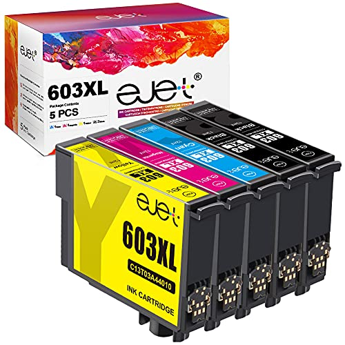ejet Compatible Ink Cartridge Replacement for Epson 603XL for Expression Home XP-2100 XP-4100 XP-4105 XP-2105 XP-3100 XP-3105 WF-2850 WF-2810 WF-2830 WF-2835 (Black Cyan Magenta Yellow, 5-Pack)