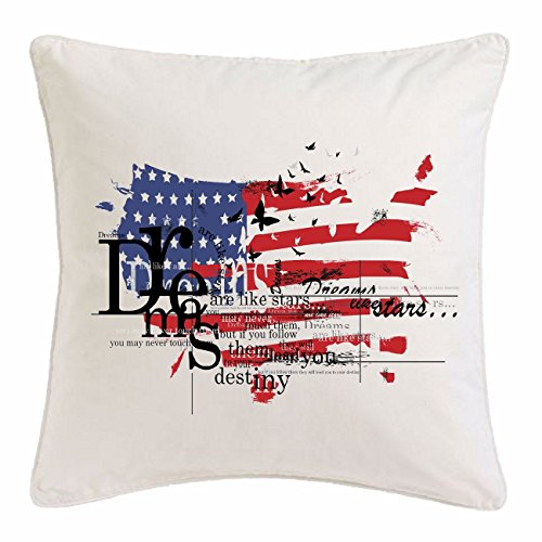 taie d'oreiller 40x40cm AMERICAN DREAMS USA NEW YORK CITY AMÉRIQUE CALIFORNIA USA ROUTE 66 SHIRT BIKER MOTORCYCLE NY NYC LIBERTY ÉTATS-UNIS BRONX BROOKLYN LOS ANGELES MANHATTAN Microfibres en blanc