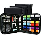 Sewing KIT, Tackle Any Fashion Emergency - Clothing Repairs at Home & in The Office. Highly-Rated Mini Sew Kit for Travel Trips. Mending Supplies & Accessories (Black, Pack of 3)