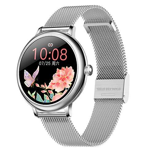 Voigoo Reloj Inteligente para Hombre Mujere, Smartwatch Redondo con función de recordatorio de teléfono SMS de Whatsapp Impermeable Reloj Deportivo Correa de Metal para iPhone Android