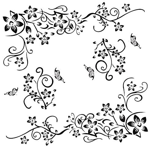 2 pezzi adesivi murali neri set di ornamenti per la decorazione della parete, fiori viticcio farfalle piante adesivi murali vite murales per soggiorno camera da letto anticamera corridoio finestra