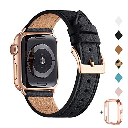 QAZNZ Lederarmband Kompatibel mit Apple Watch Armband 40mm 38mm 44mm 42mm, Original Leder Ersatzband Kompatibel mit iWatch Serie 6 5 4 3 2 1 & iWatch SE(38mm 40mm,Schwarz/Roségold)