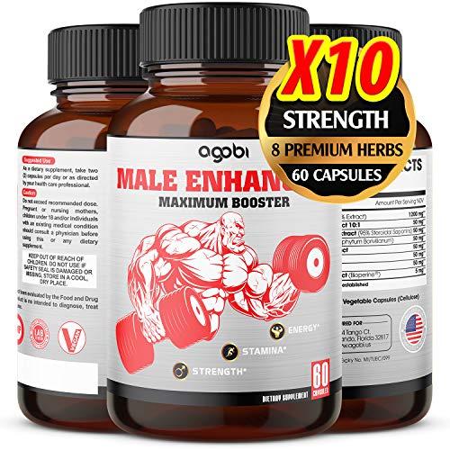 Natural Testosterone Booster for Men - Male Enhancing Pills, Equivalent to 12750 mg of Panax Ginseng, Ashwagandha, Tribulus Terrestris- Improve Performance, Stamina, Muscles - 60 Vegan Capsules