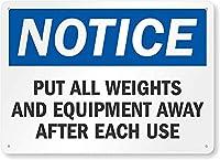 安全標識-注意:使用後はウェイトと機器を片付けてください。 金属スズサインUV保護および耐候性、通知警告サイン
