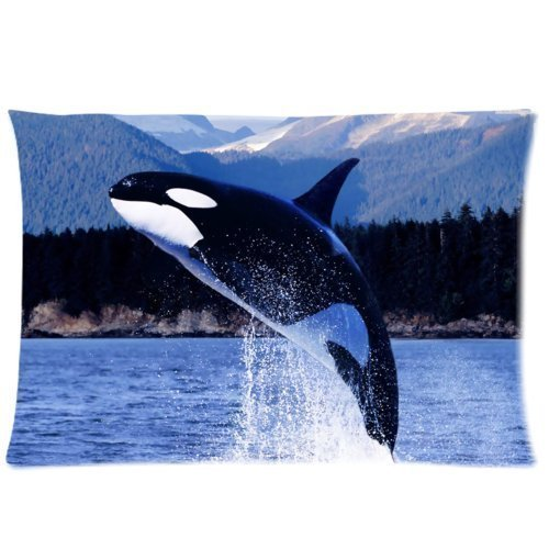 fengyijiating Huirong Pillowcase Design 20 X 30 inch Satin Cloth Orca Killer Whales Pillow Protector, Best Pillow Cover