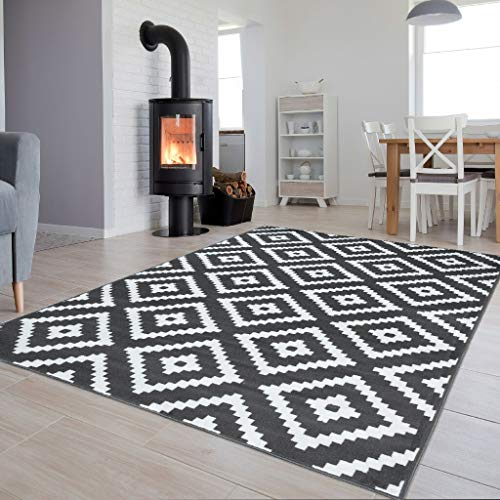Tapiso Colección Luxury Alfombra Salón Moderno Piso Color Gris Oscuro Blanco Diseño Geométrico Fácil Mantenimiento 120 x 170 cm
