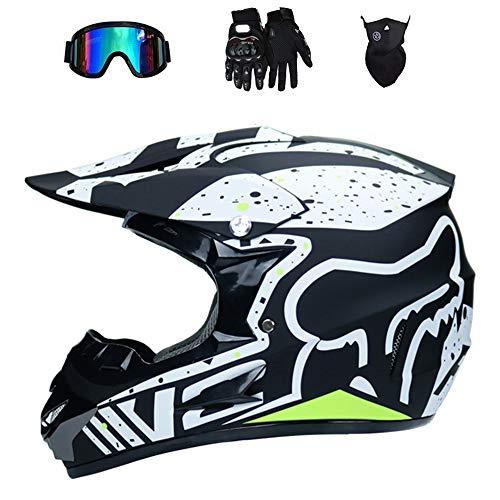 Preisvergleich Produktbild GWJ Motocross Helm Off Road Motorradhelm ATV Cross DOT Helme Motorrad Crossbike Enduro Sport mit Handschuhen Sturmmaske und Brille 58-59CM (6 Style), Bordinary, M