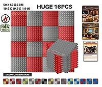 エースパンチ 新しい 16ピースセットグレーと赤 500 x 500 x 50 mm ピラミッド 東京防音 ポリウレタン 吸音材 アコースティックフォーム AP1034