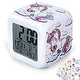Despertadores Digitales de Unicornio DIY de Niñas con 10 Pegatinas de Unicornio, Reloj LCD de Cubo LED Fluorescente con Luz Reloj de Cabecera de Niños Regalo de Cumpleaños