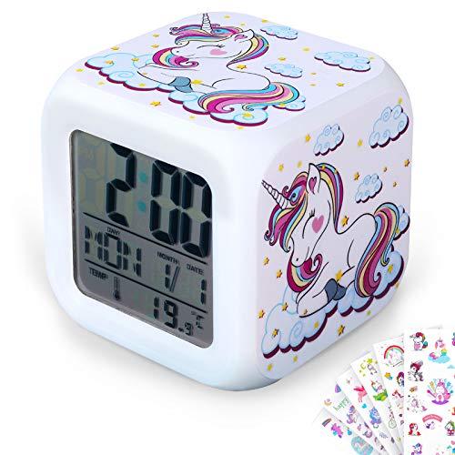DIY Einhorn Digital Wecker für Mädchen mit 10 Stückem Einhorn Aufkleber, LED Nacht Glühwürfel LCD Uhr mit Licht Kinder Nacht Tischuhr Wecken Geburtstag Geschenk für Kinder Schlafzimmer