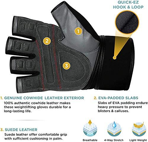 RDX-Gel Gewichtheben Bodybuilding Handschuhe Fitness Band Schulung Leder Schulung Gr. L - 5