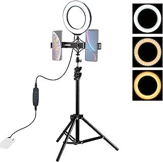 DUS 6,2 pulgadas trípode luz LED anillo soporte con doble soporte para teléfono para TIK Tok, maquillaje, vídeo, foto