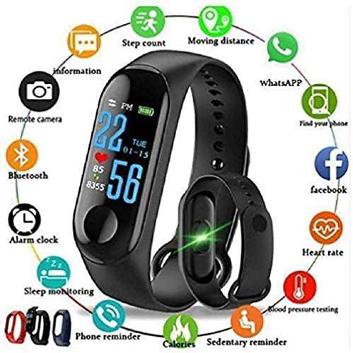 SHOPTOSHOP Smart Band Fitness Tracker Watch With Heart Rate Activity Tracker Waterproof Body Functions Like Steps Counter Calorie Counter Blood Pressure Heart Rate Monitor LED Touchscreen Blue