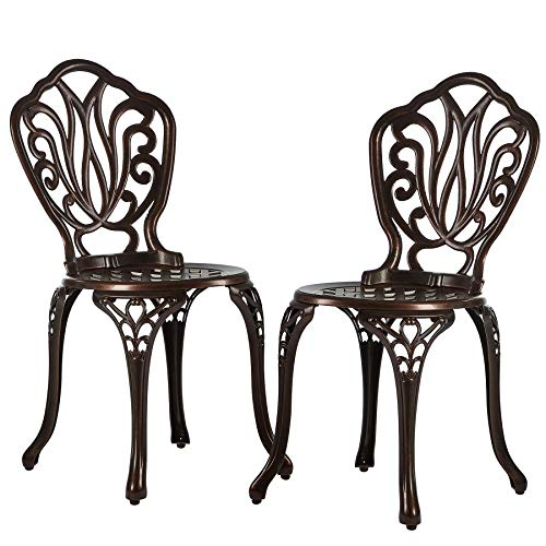 Nuzanto Patio Dining Chairs Set of 2 Outdoor Patio Bistro Side Chairs Cast Aluminum Antique Bronze All-Weather Rust-Resistant for Porch Balcony Lawn Garden Backyard Vintage (2 Piece Chairs)