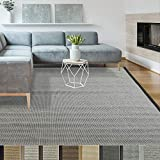 iCustomRug Zara Synthetic Sisal Collection Area Rug and Custom Size Runners, Softer Than Natural Sisal Rug, Stain Resistant & Easy to Clean Beautiful Border Rug in Gold 8' x 10'