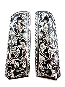 Sri Lanna Mother of Pearl Inlay 1911 Grips fit with S&W Colt Kimber Springfield Black Flower