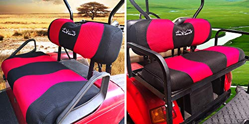 YouLeGo - Golf Cart Front/Back Seat Cover Sets Fit to Club Car, EZGO, Yamaha and Rear Flip Seats.Breathable Washable Polyester Mesh Cloth. Renew Your Golf Cart. (EZGO TXT/RXV/CC DS - Red/Black)