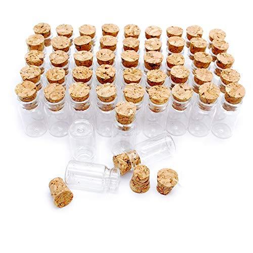 Danmu Art - 50 botes de cristal pequeños con tapones de corcho (1 ml, 11 mm x 22 mm)