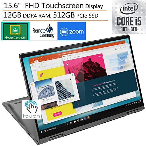 2020 Lenovo Yoga C740 2-in-1 15.6' FHD Touchscreen Laptop Computer, Intel Quad-Core i5-10210U (Beats i7-7500U), 12GB DDR4 RAM, 512GB PCIe SSD, Windows 10, iPuzzle External DVD, Online Class Ready