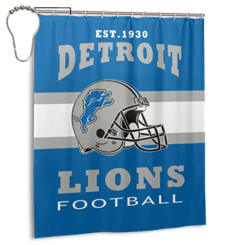 BXNOOD Shower Curtain Detroit Lions Polyester Waterproof for Bathroom Decoration Set for Bathroom Decoration 60x72 Inches