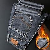Vaqueros para Jeans Pantalones Pantalones Vaqueros Cálidos De Invierno con Diseño De Cremallera para Hombre...