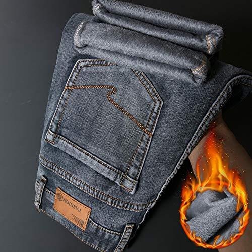 Vaqueros de Moda clásica Diseño De Cremallera Pantalones Vaqueros Cálidos De Invierno para Hombre Gris Azul Algodón De A