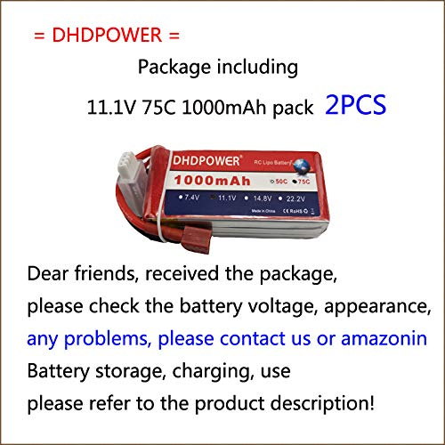 11.1V 75C 1000mAh 2PCS DHDPOWER RC Lipo Battery with T Plug for RC Airplane Quadcopter Helicopter Drone FPV Car Boats Helicopter