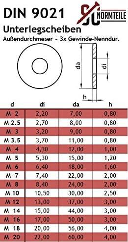Karosseriescheiben DIN 9021 Edelstahl A2 50 St/ück M12 rostfreie U-Scheiben Unterlegscheibe Gro/ße Unterlegscheiben 13   Beilagscheiben