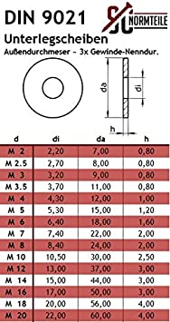 Große  Edelstahl A2 Unterlegscheiben M6  V2A  DIN9021 50 Stk